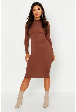 Womens Chocolate High Neck Long Sleeve Ribbed Midi Dress