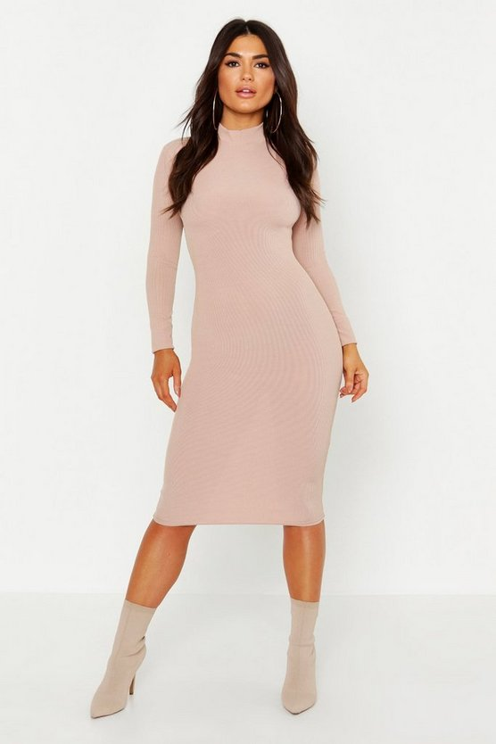 Womens Stone High Neck Long Sleeve Ribbed Midi Dress