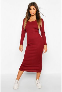 Berry Scoop Neck Long Sleeve Ribbed Midaxi Dress