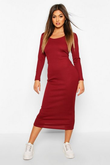 Womens Berry Scoop Neck Long Sleeve Ribbed Midaxi Dress