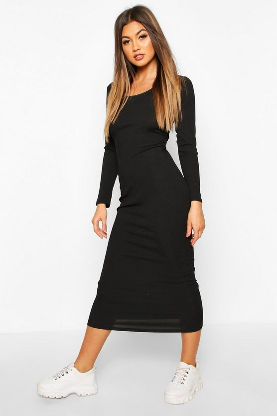 Black Scoop Neck Long Sleeve Ribbed Midaxi Dress