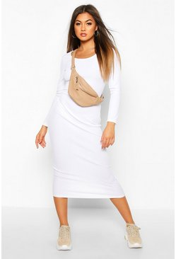Womens White Scoop Neck Long Sleeve Ribbed Midaxi Dress