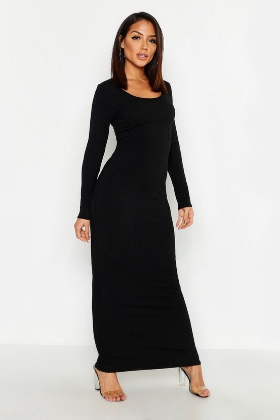Womens Black Long Sleeve Scoop Neck Ribbed Maxi Dress