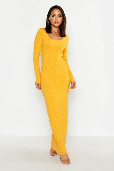 Womens Mustard Long Sleeve Scoop Neck Ribbed Maxi Dress