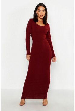 Wine Long Sleeve Scoop Neck Ribbed Maxi Dress