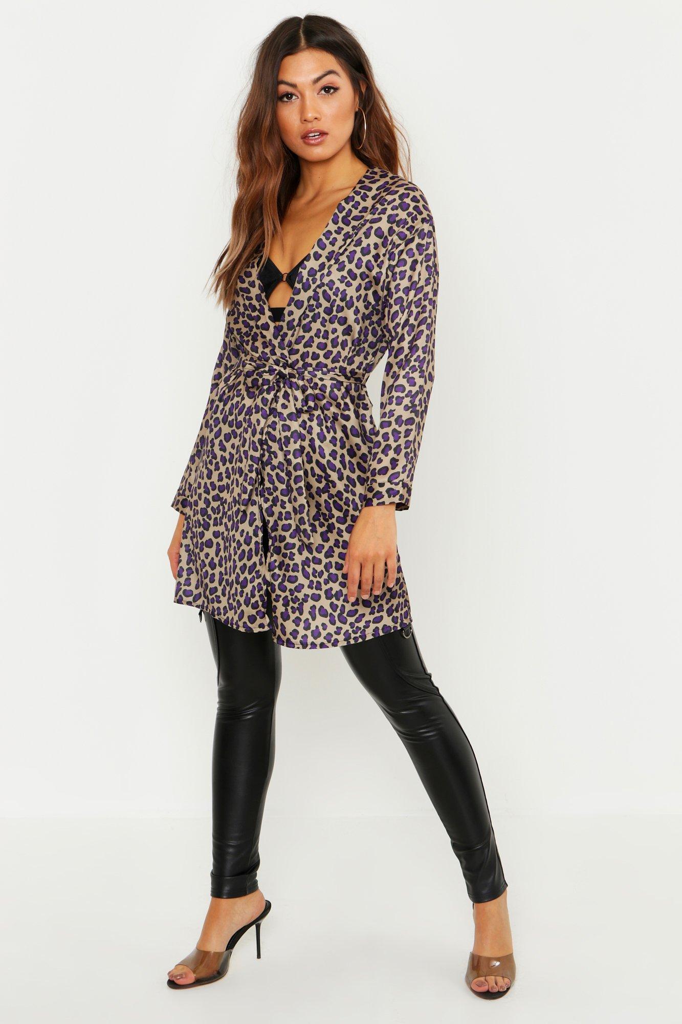 Leopard Print Wrap Kimono