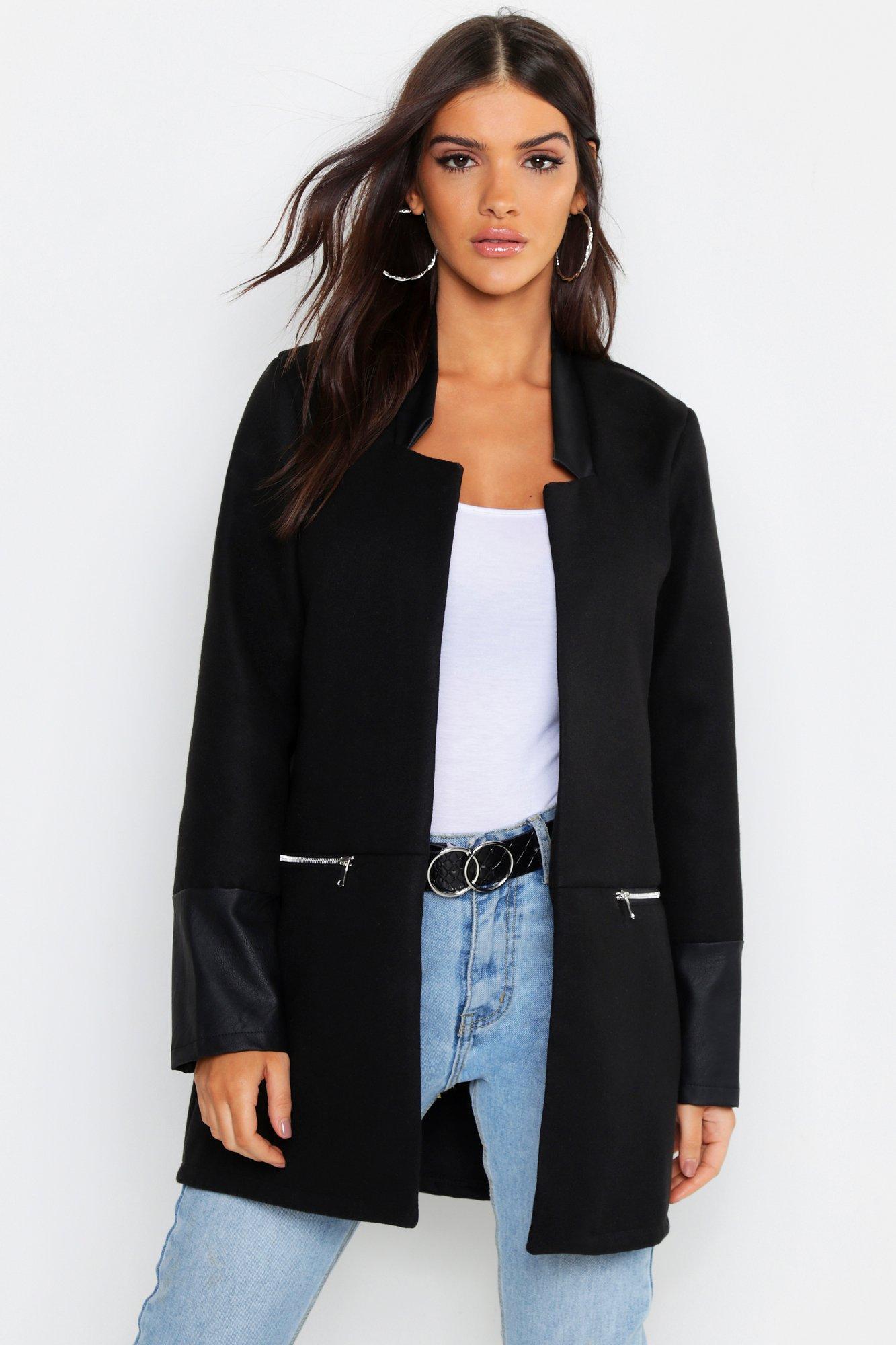 Faux Leather Trim Zip Pocket Wool Look Coat