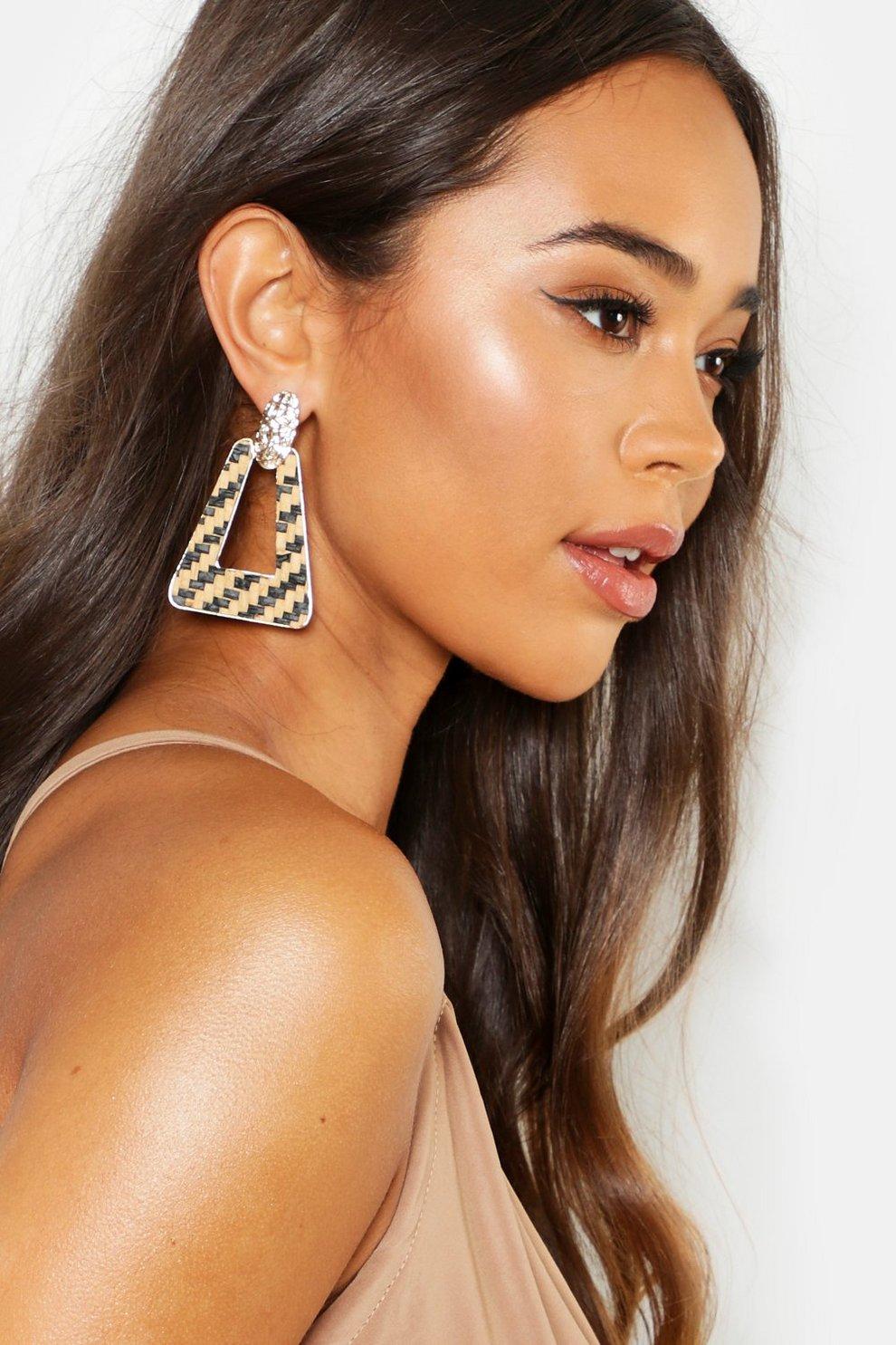 88417bbf3b966f Monochrome Woven Trapezium Earrings   Boohoo