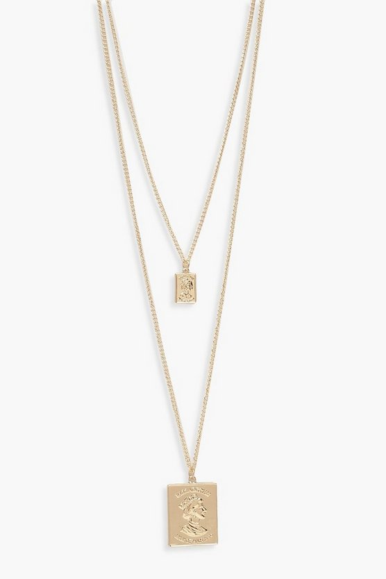 Gold Double Square Layered Necklace