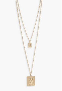 Womens Gold Double Square Layered Necklace
