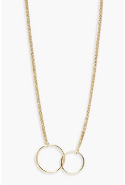 Womens Gold Double Linked Circle Necklace