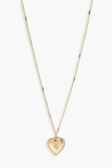 Womens Gold Simple Heart Pendant Necklace