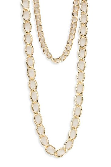 Womens Gold Double Layer Chunky Chain Necklace