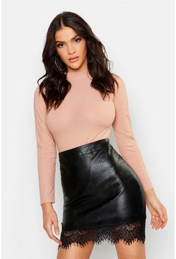 Black Lace Trim Leather Look Skirt