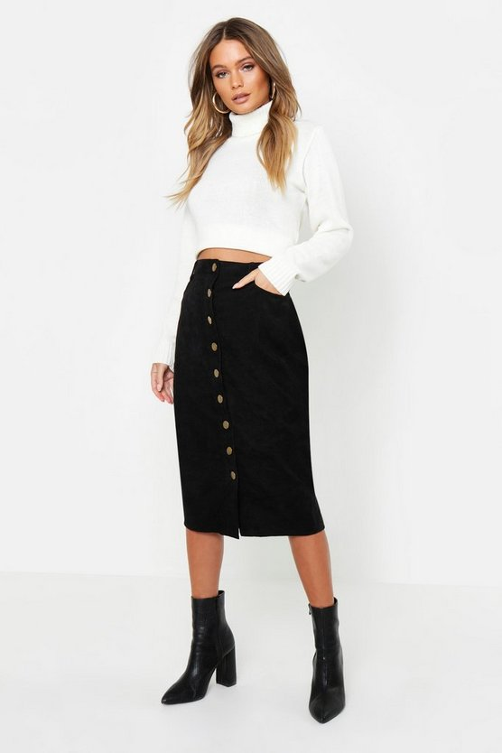 Womens Black Cord Button Front Midi Skirt