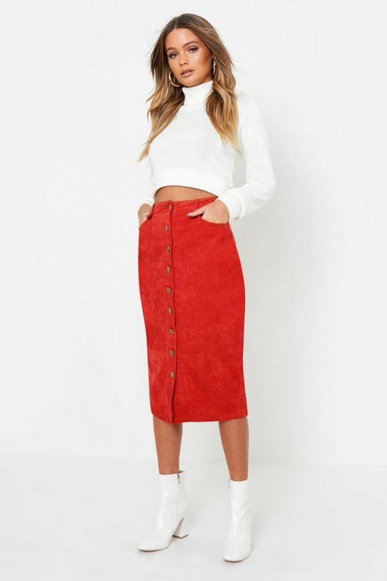 Rust Cord Button Front Midi Skirt