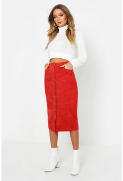 Womens Rust Cord Button Front Midi Skirt