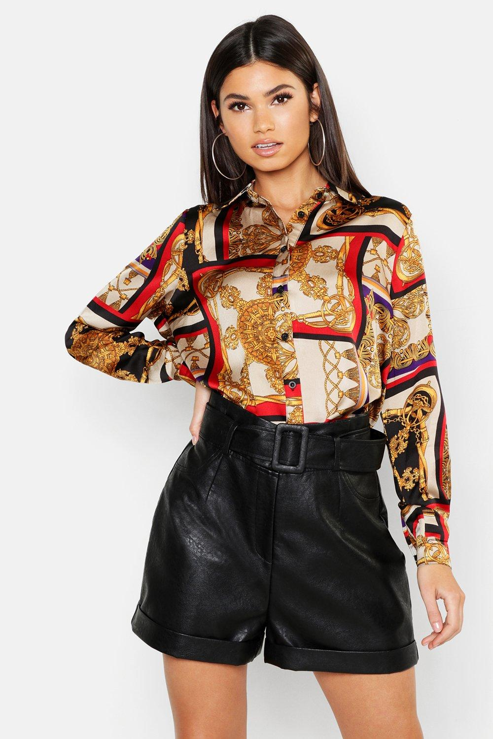 Scarf Chain Print Oversized Shirt