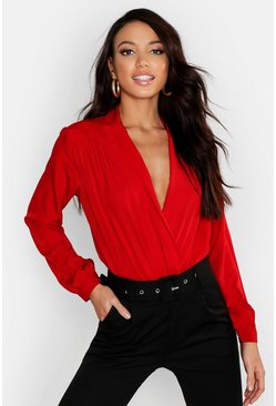 Womens Red Woven Wrap Bodysuit