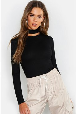 Womens Black Basic Turtle Neck Keyhole Detail Top
