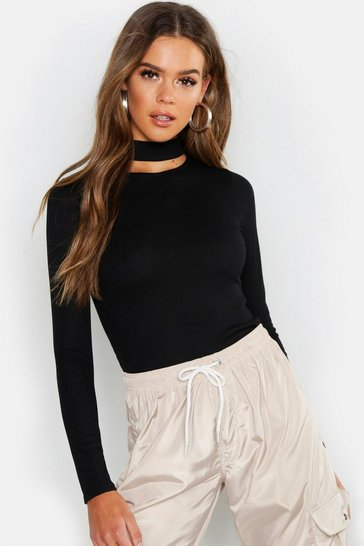 Womens Basic Turtle Neck Keyhole Detail Top