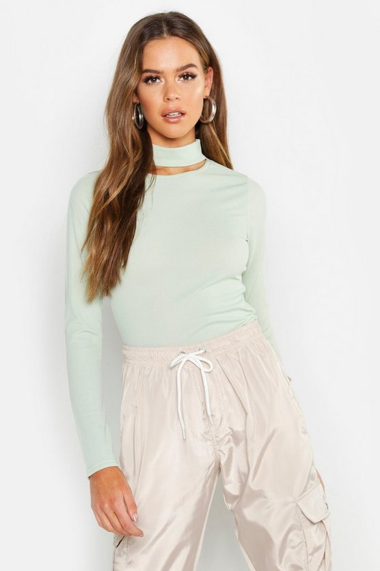 Basic Turtle Neck Keyhole Detail Top