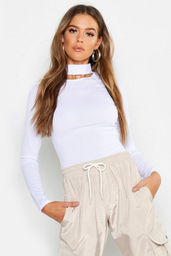 Womens White Basic Turtle Neck Keyhole Detail Top