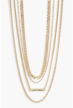 Womens Gold Simple Multi Layered Necklace Pack