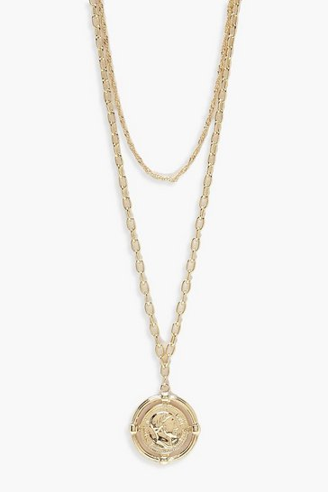 Womens Gold Coin Medallion Layered Necklace