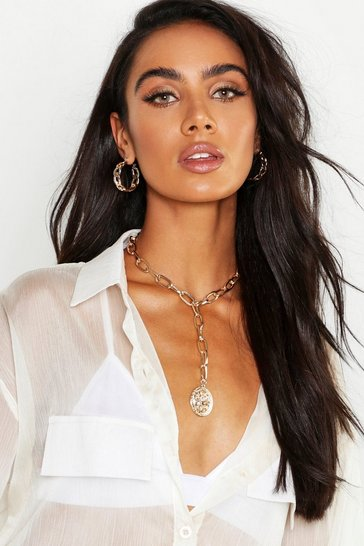 Womens Gold Linked Chain Coin Plunge Necklace