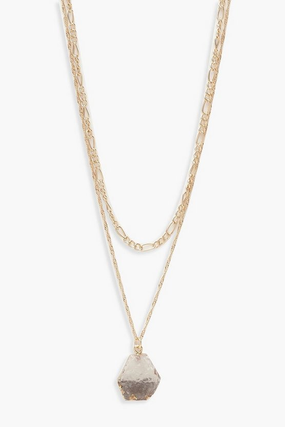 Collier superposé cristaux transparents, Femme
