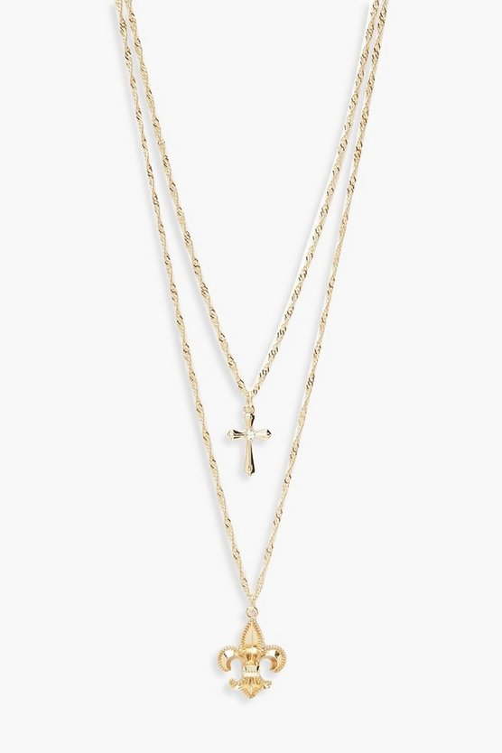 Filigree & Cross Layered Necklace