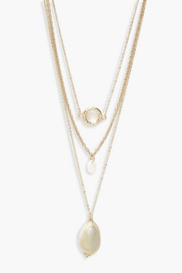 Womens Gold Circle & Shell Layered Necklace