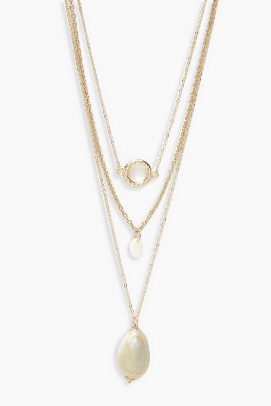 Circle & Shell Layered Necklace by Boohoo