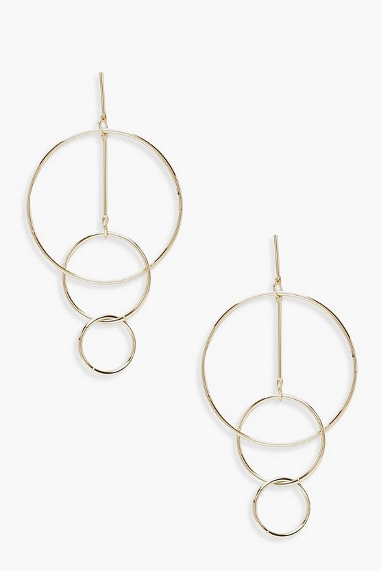 Womens Gold Triple Layered Hoop Earrings
