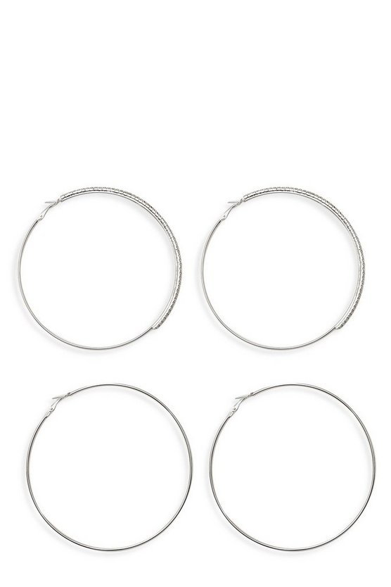 10cm Diamante & Plain Hoop Earring Pack