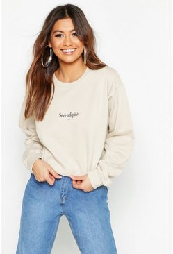 Womens Sand Serendipite Slogan Sweat