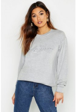 Womens Grey marl Champs Elysees Slogan Sweat