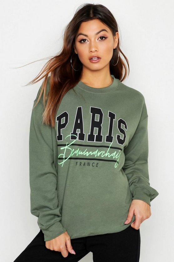 Paris Neon Slogan Sweat