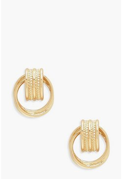 Gold Vintage Look Mini Circle Earrings