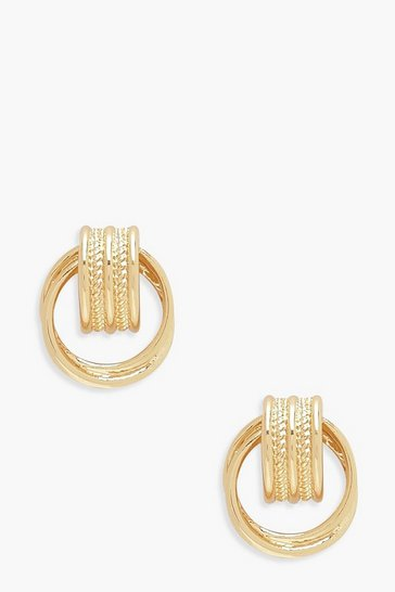 Womens Gold Vintage Look Mini Circle Earrings