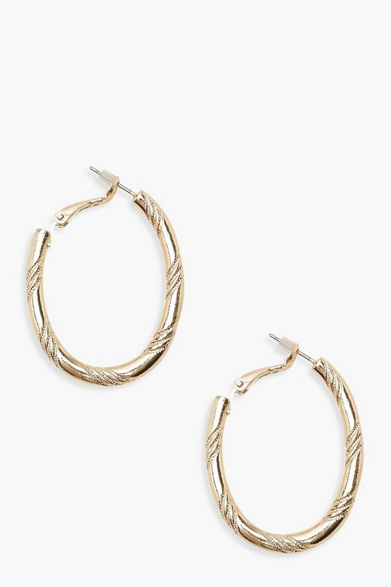 Twist Etched Oval Hoop Earrings