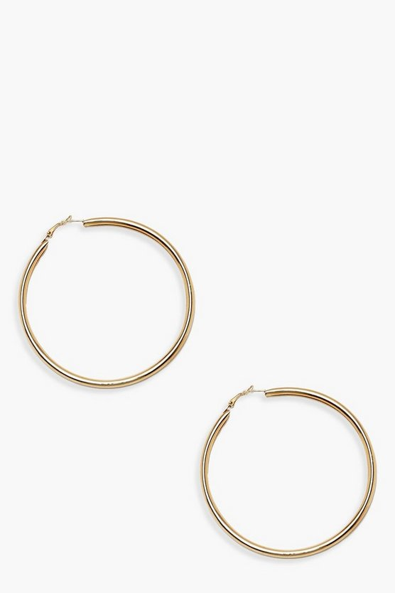Womens 9.5cm Simple Hoop Earrings