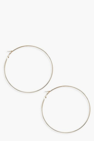 Womens Gold Chunky 9cm Hoop Earrings