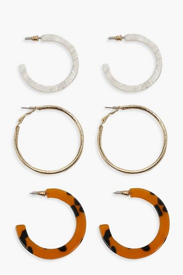 Womens Multi Resin And Gold Hoop Pack