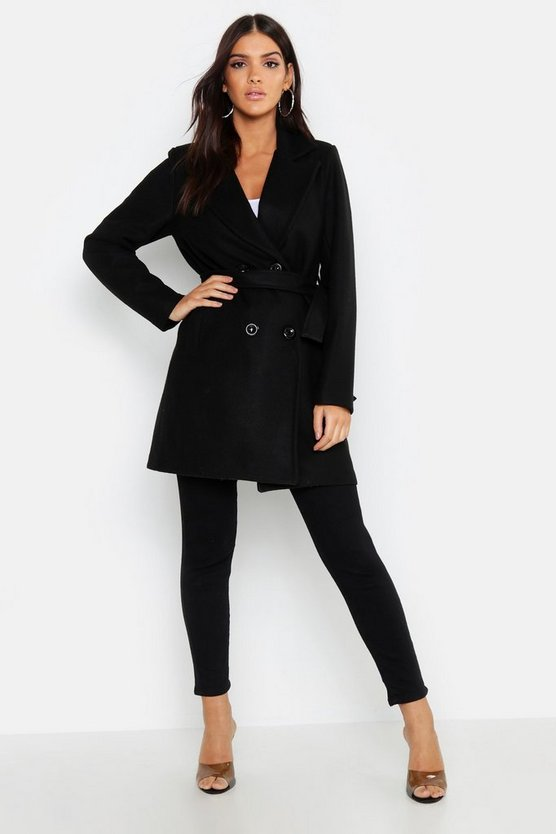 Womens Black Double Breasted Belted Wool Look Coat