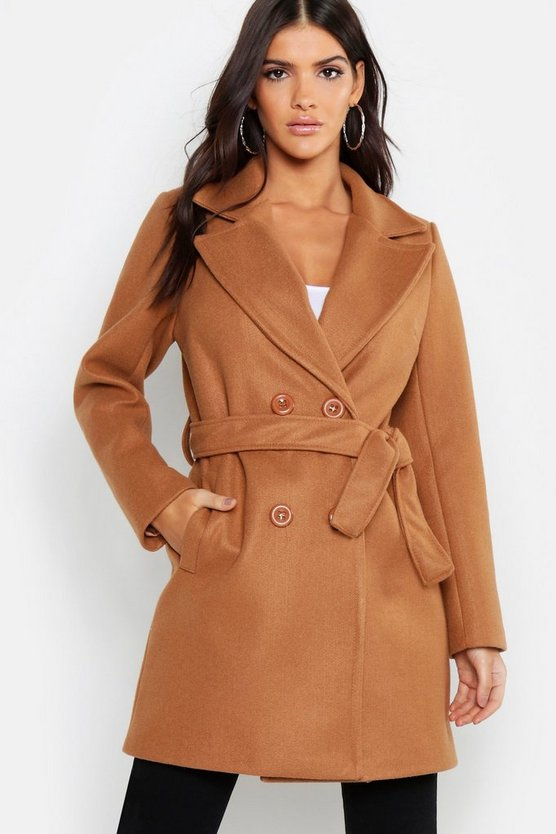 Double Breasted Belted Wool Look Coat