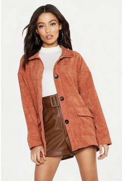 Womens Tan Cord Utility Jacket
