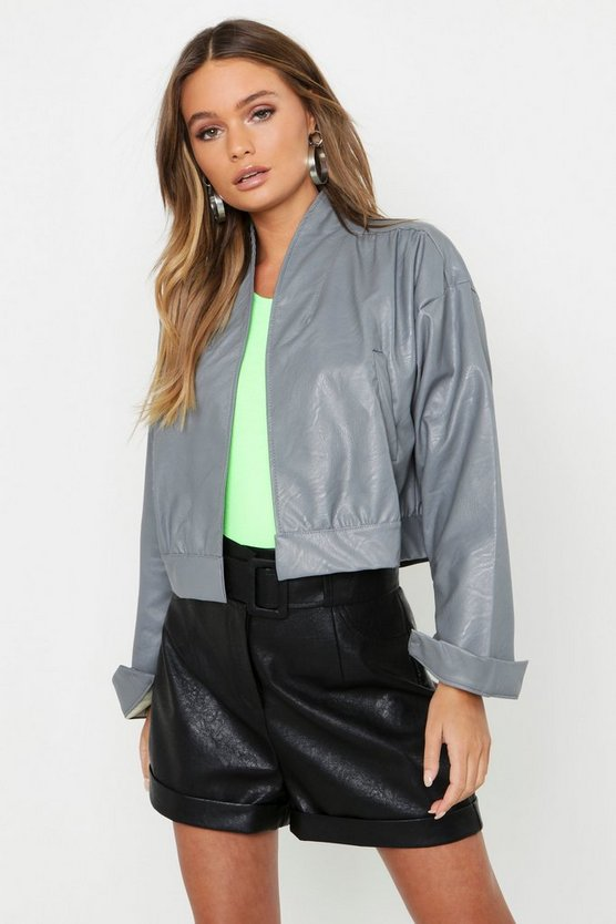 Womens Grey Crop Faux Leather Jacket