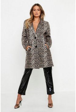 Womens Natural Leopard Wool Look Coat